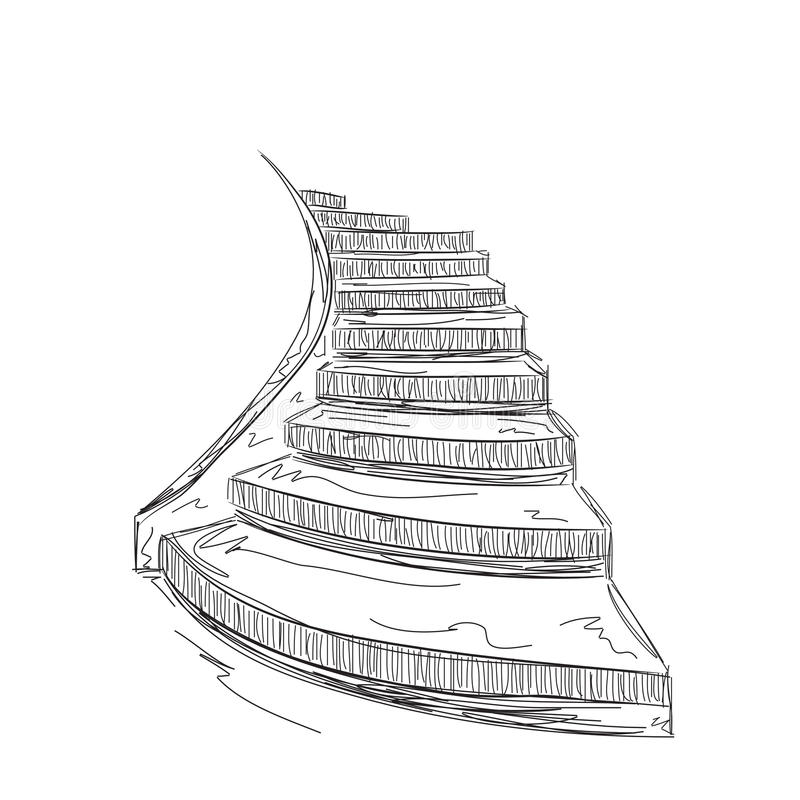 Download Hand Drawn Staircase Sketch. Stock Vector   Illustration Of  Stairway, Stair: 65709674