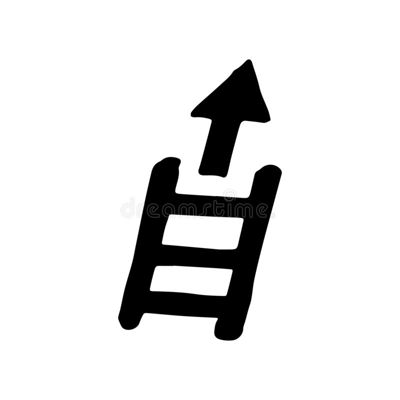 Hand Drawn stairs arrow up doodle. Sketch style icon. Decoration element. Isolated on white background. Flat design. Vector. Illustration, achievement, ladder royalty free illustration