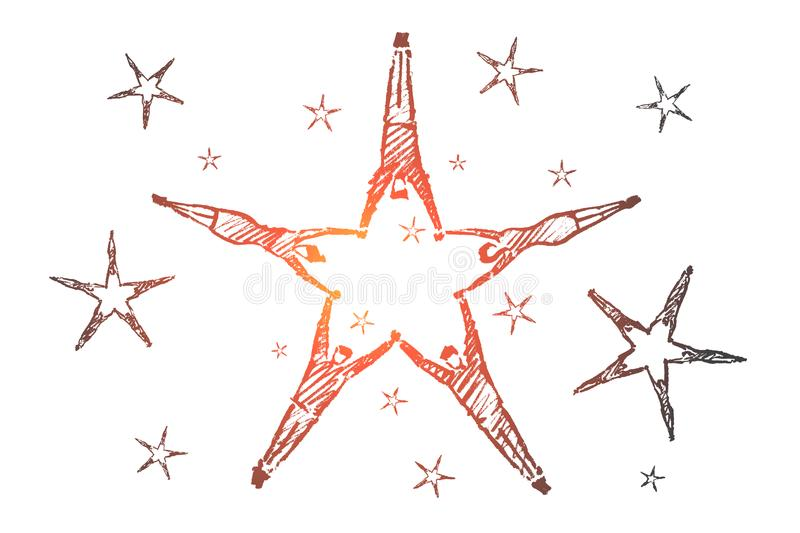 Hand drawn star formed by lying peoples hands stock illustration