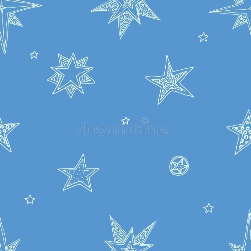 Hand drawn stars. Abstract seamless background, fantasy hand drawn stars royalty free illustration