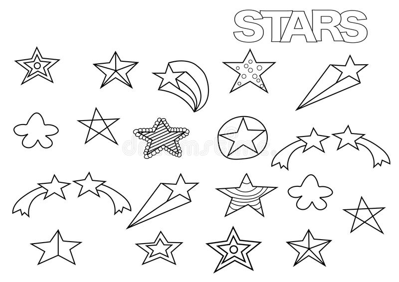 Hand drawn stars set. Coloring book page template. royalty free illustration