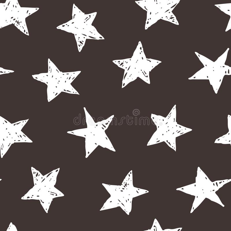 Hand drawn stars sky vector illustration