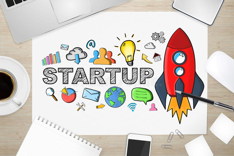 Hand drawn startup text with icons on office background. Startup presentation with rocket and icons on desk office background vector illustration