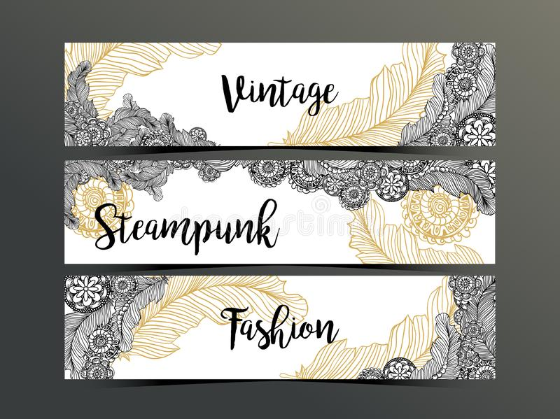 Hand drawn steampunk technology element with gear-wheel and feathers. Artistic design for flyer, banner, websites stock illustration