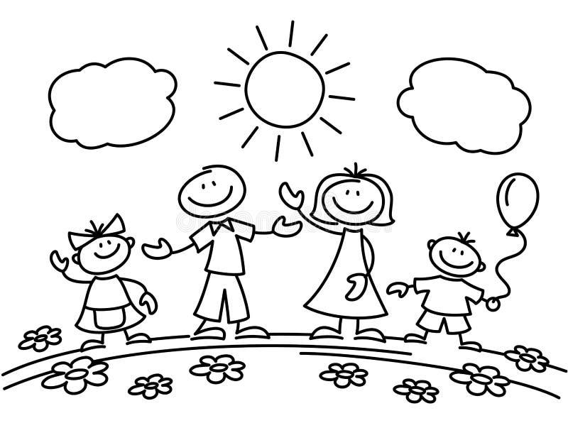 Hand Drawn Stick Figure Happy Family. Vector Illustration ...