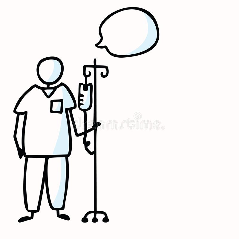 Hand Drawn Stick Figure Nurse with IV Drip Speech Bubble. Concept Surgery Prop, Health Care Medical Hospital. Simple Icon for stock illustration