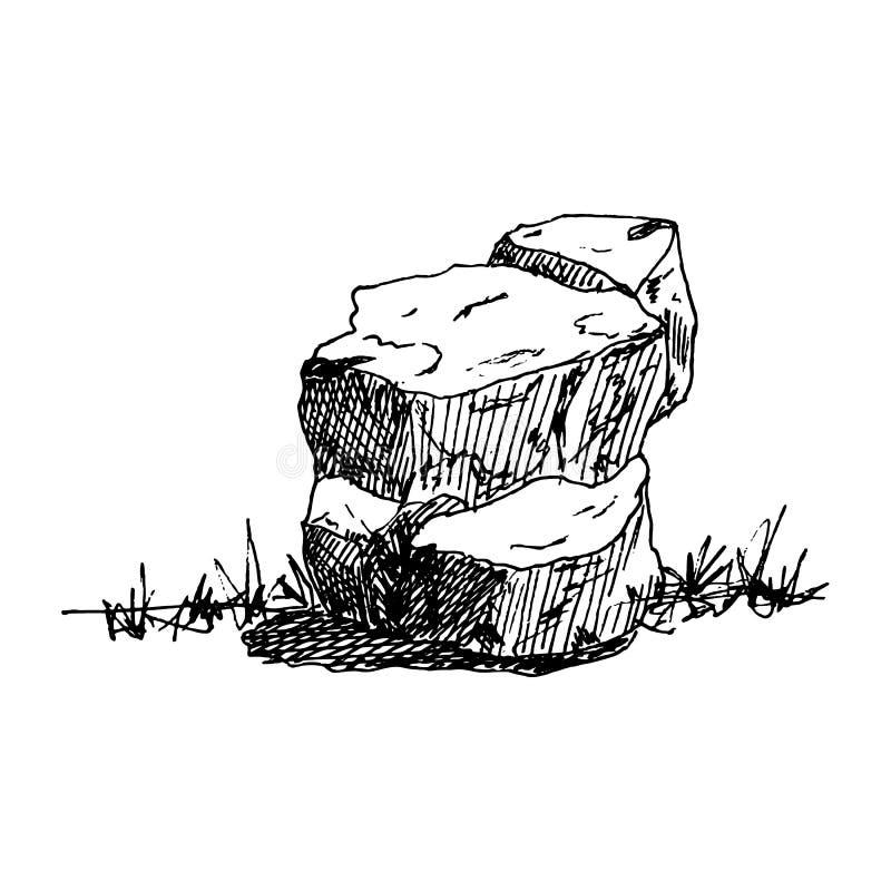 Hand Drawn stone doodle. Sketch style icon. Decoration element. Isolated on white background. Flat design. Vector illustration. Grunge, gemstone, sea, pile stock illustration
