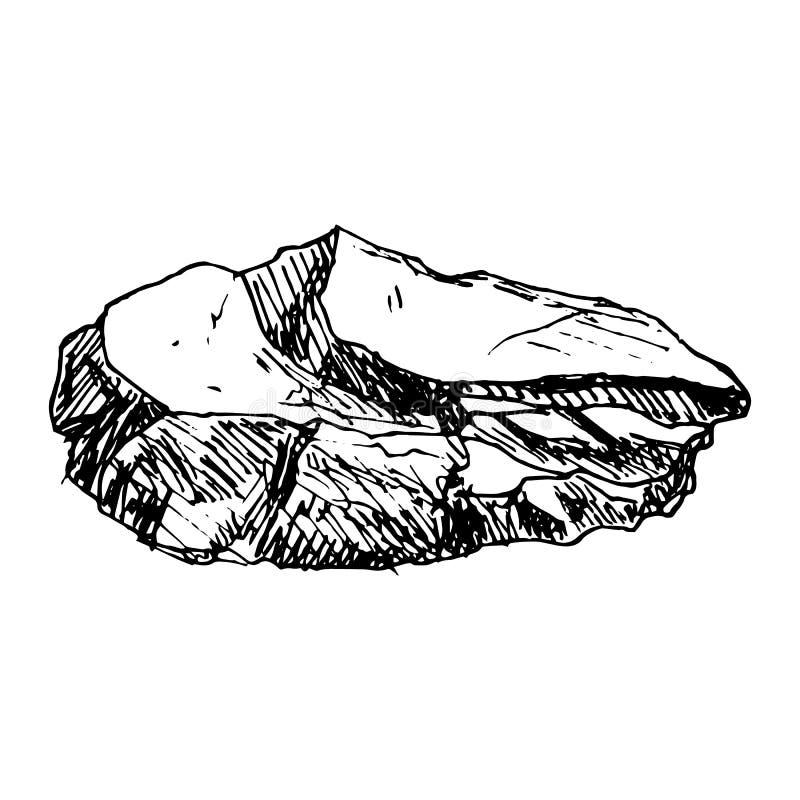 Hand Drawn stone doodle. Sketch style icon. Decoration element. Isolated on white background. Flat design. Vector illustration. Grunge, gemstone, sea, pile vector illustration
