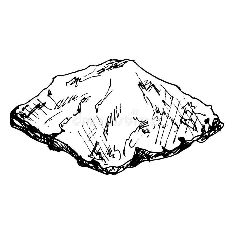 Hand Drawn stone doodle. Sketch style icon. Decoration element. Isolated on white background. Flat design. Vector illustration. Grunge, gemstone, sea, pile royalty free illustration