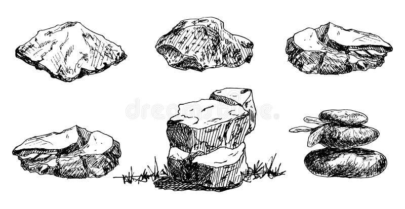 Hand Drawn stones set doodle. Sketch style icon. Decoration element. Isolated on white background. Flat design. Vector. Illustration, grunge, gemstone, sea vector illustration