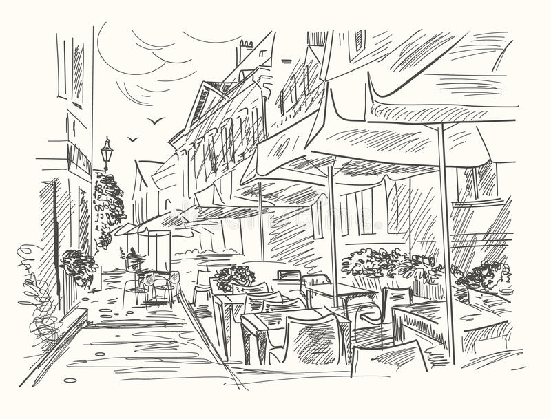 Hand drawn street cafe in old town. Vintage vector illustration.  vector illustration