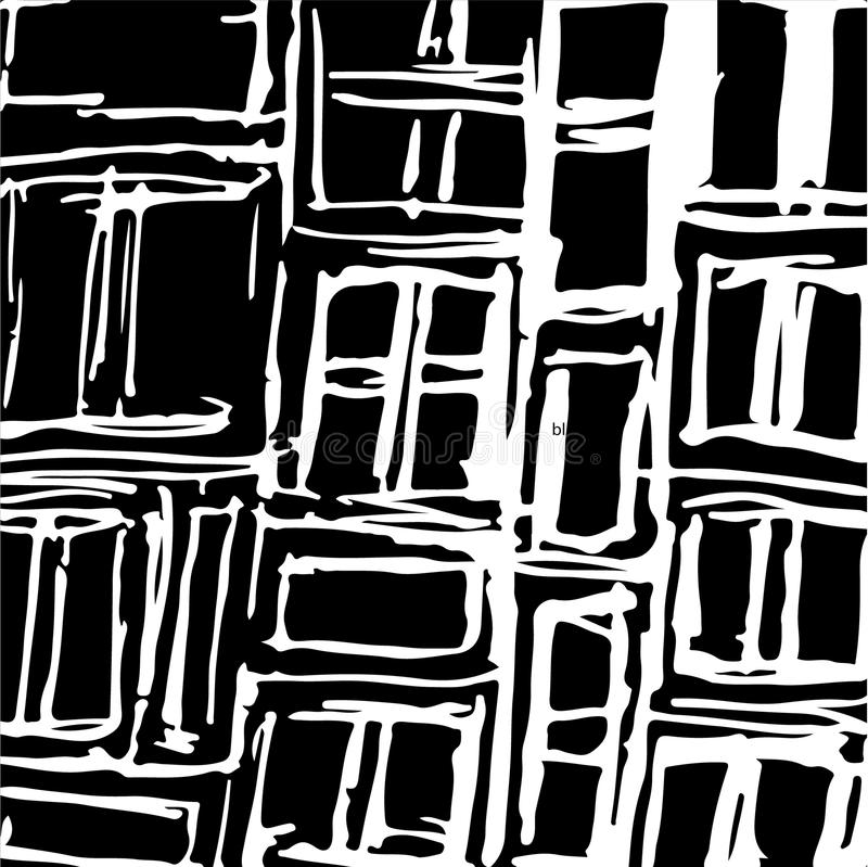 Hand drawn striped pattern. Black and white. Design elements drawn strokes. The effect of gel pens royalty free illustration