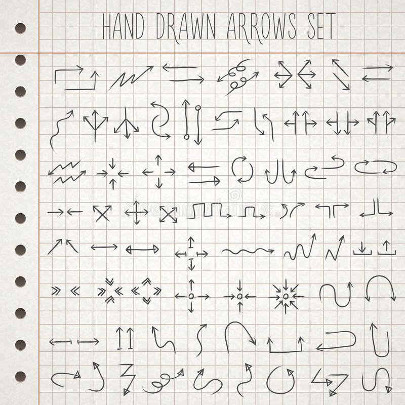 Hand drawn style arrows set vector illustration