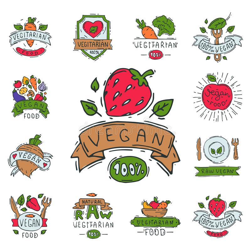 Hand drawn style of bio organic eco healthy food label vegan vegetable illustration vegetarian natural farm sign. royalty free illustration