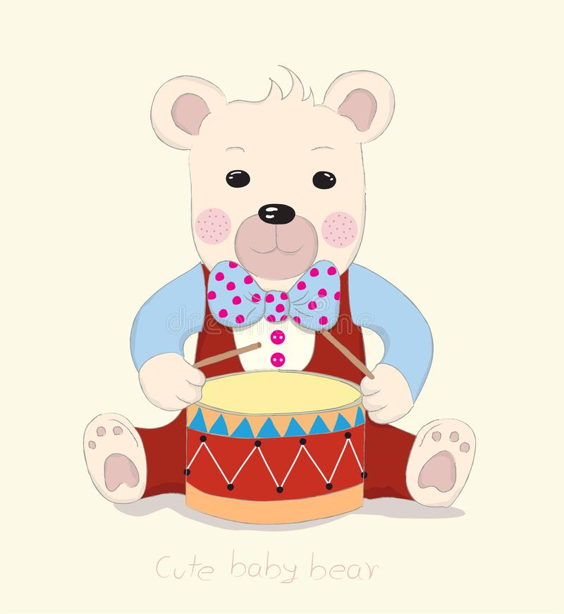 Hand drawn style, Cute little bear cartoon drum. Hand drawn style, Cute little bear cartoon drum royalty free illustration
