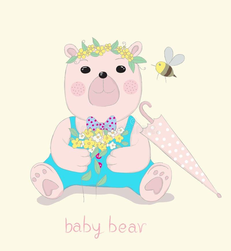 Hand drawn style, Cute little bear cartoon hold flowers in hand. Hand drawn style, Cute little bear cartoon hold flowers in hand royalty free illustration