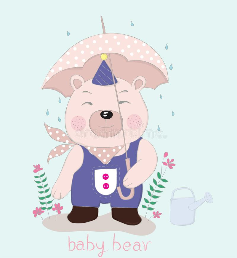 Hand drawn style, Cute little bear cartoon hold umbrella in hand. On a rainy day royalty free illustration