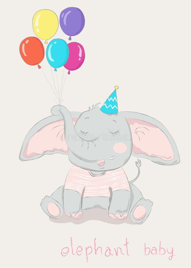 Hand drawn style, Cute little elephant cartoon hold colorful balloon. vector illustration