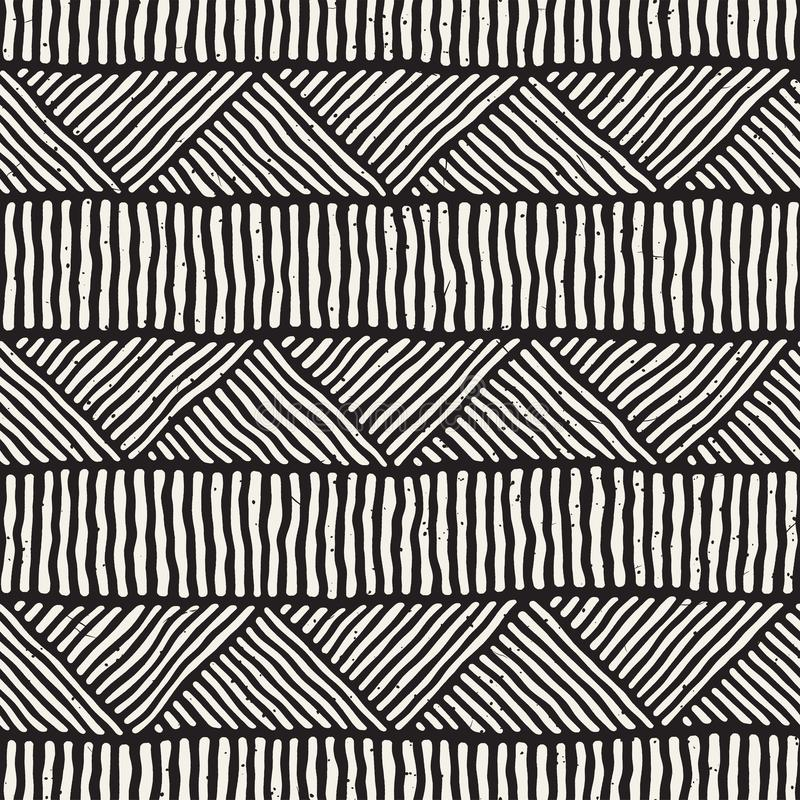 Hand drawn style ethnic seamless pattern. Abstract geometric tiling background in black and white. vector illustration