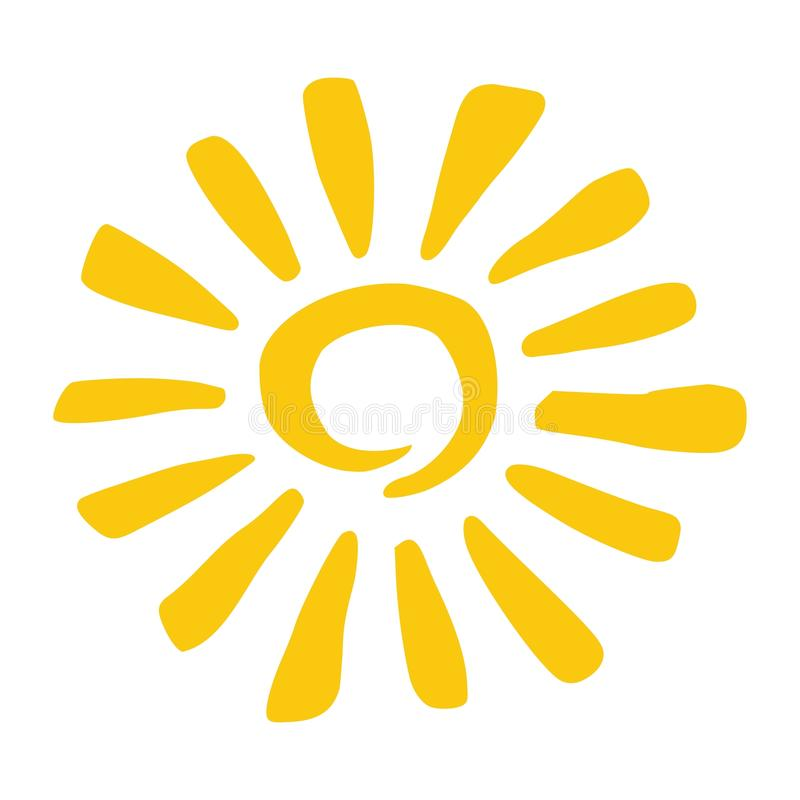 Hand drawn style yellow sun stock illustration