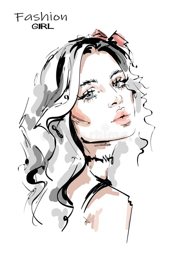 Hand drawn stylish beautiful young woman with long blonde hair. Beautiful girl. Fashion look. Woman with choke necklace. Sketch. Vector illustration stock illustration