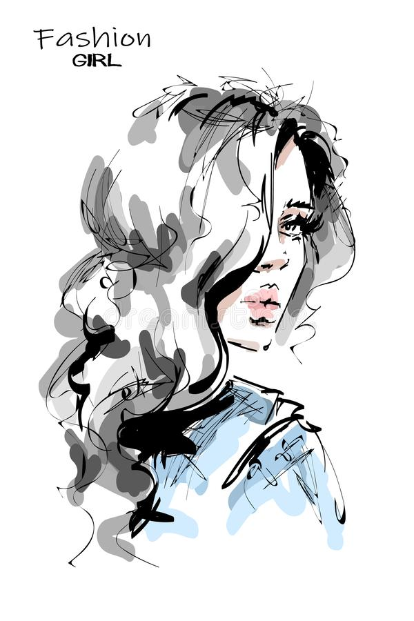 Free Hand Drawn Stylish Beautiful Young Woman With Long Blonde Hair. Beautiful Girl. Fashion Look. Sketch. Stock Images - 138974404