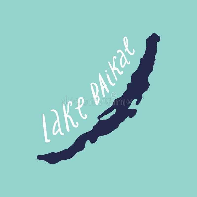Hand drawn stylish doodle map of Lake Baikal. Vector illustration stock illustration