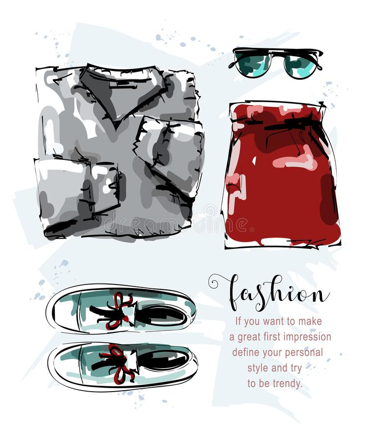 Hand drawn stylish set with sweater, skirt, shoes and sunglasses. Fashion outfit. Clothing set. Sketch. Vector illustration royalty free illustration