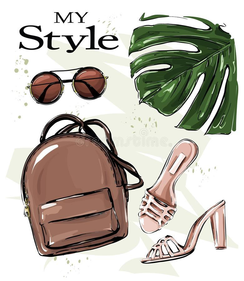 Free Hand Drawn Stylish Set With Backpack, Shoes, Sunglasses And Palm Leaf. Fashion Set. Beautiful Female Outfit. Flat Lay. Royalty Free Stock Photo - 153044985
