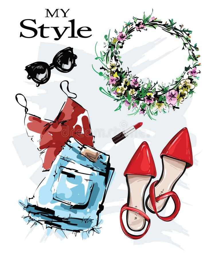Free Hand Drawn Stylish Set With Red Shoes, Shorts, Shirt, Lipstick, Sunglasses And Flower Wreath. Fashion Outfit. Sketch. Royalty Free Stock Photo - 159200495