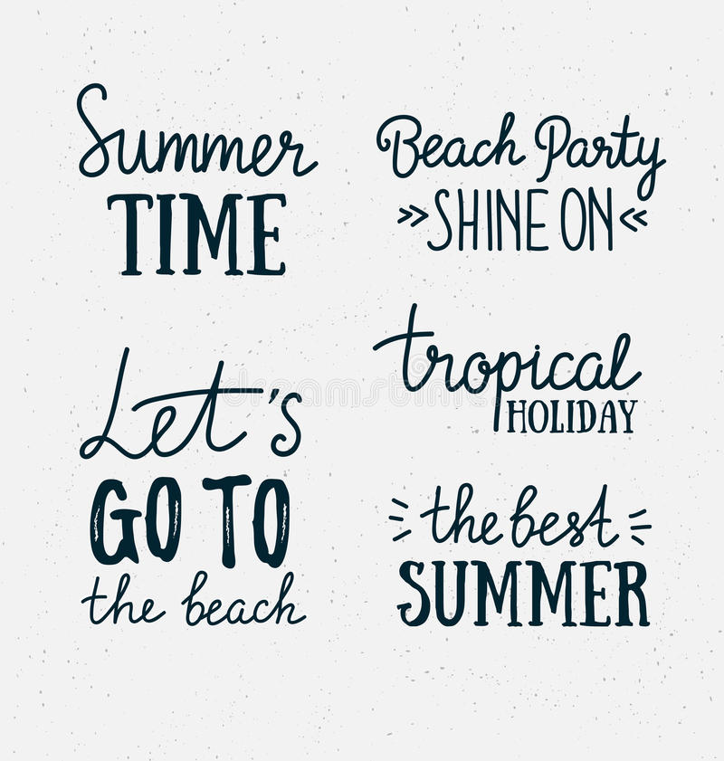 Hand drawn stylish summer typography lettering phrases on the grunge background. Design elements. Vector illustration royalty free illustration