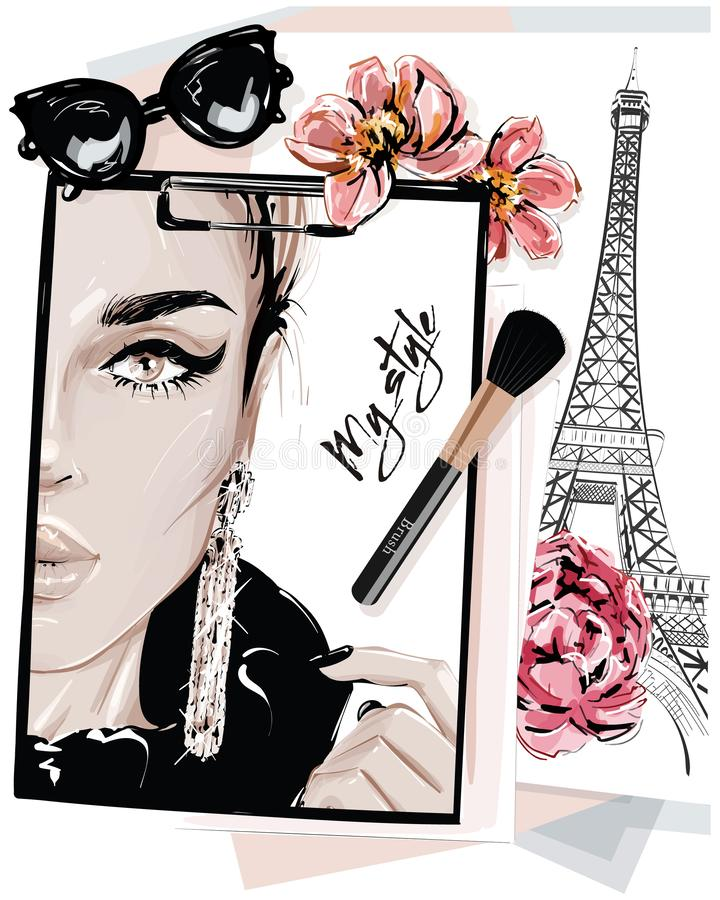 Hand drawn stylish table set with notes, sketches, makeup brush, sunglasses and flowers. Woman face sketch and eiffel tower. Vector illustartion royalty free illustration