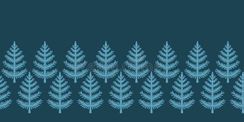 Hand drawn stylized Christmas tree border pattern. Geometric abstract fir forest. Green background. Cute winter holiday all over. Stylized Christmas tree border stock illustration