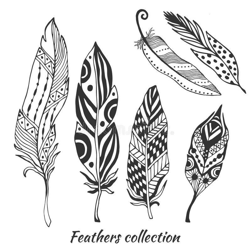 Hand drawn stylized feathers vector collection. Set of doodle tribal feathers. Cute zentangle feather for your design. Hand drawn stylized feathers vector stock illustration