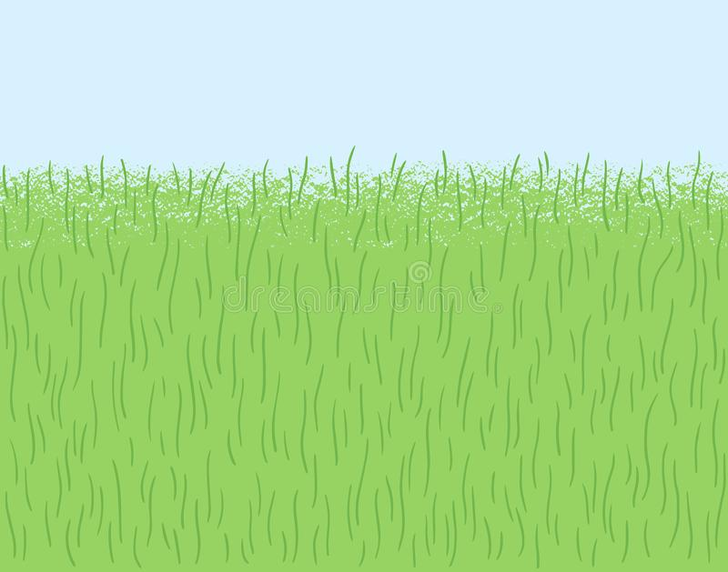 Doodle grass, herb texture, seamless lawn border. Hand drawn, stylized green grass, herb texture, pattern. Frame, border seamless in horizontal direction. Meadow royalty free illustration