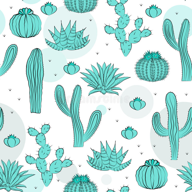 Hand drawn succulent ornament. Vector illustration. Seamless pattern with cactus. vector illustration