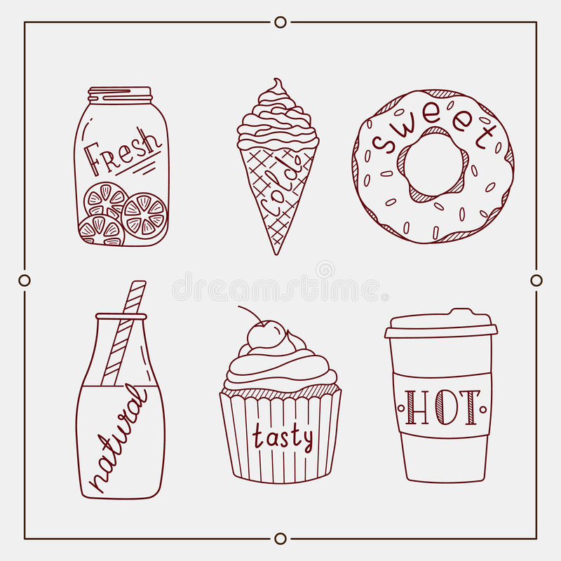 Hand drawn summer desserts and drink. Elements set royalty free illustration