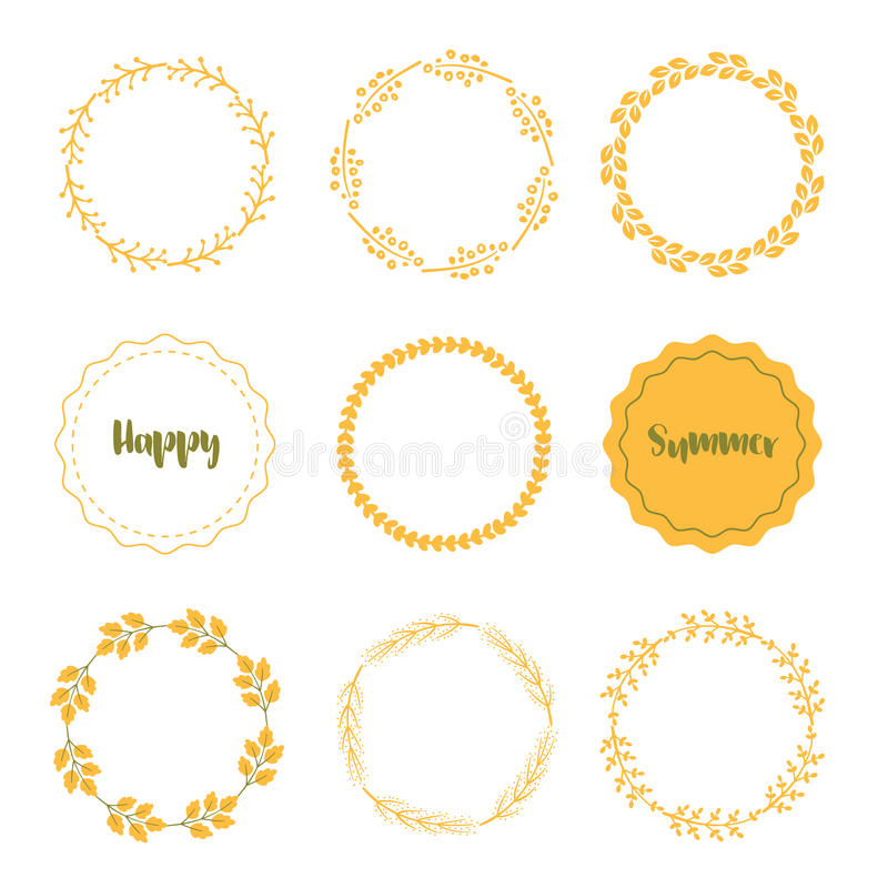 Download Hand Drawn Summer Frames Vector. Set Of Yellow Frames On White. Stock Vector - Illustration of vector, orange: 93866890