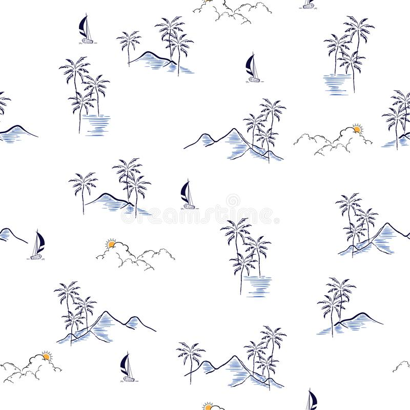 Hand drawn summer island tropical seamless pattern vector regular repeat design for fashion,wallpaper,and all prints. On white background color vector illustration