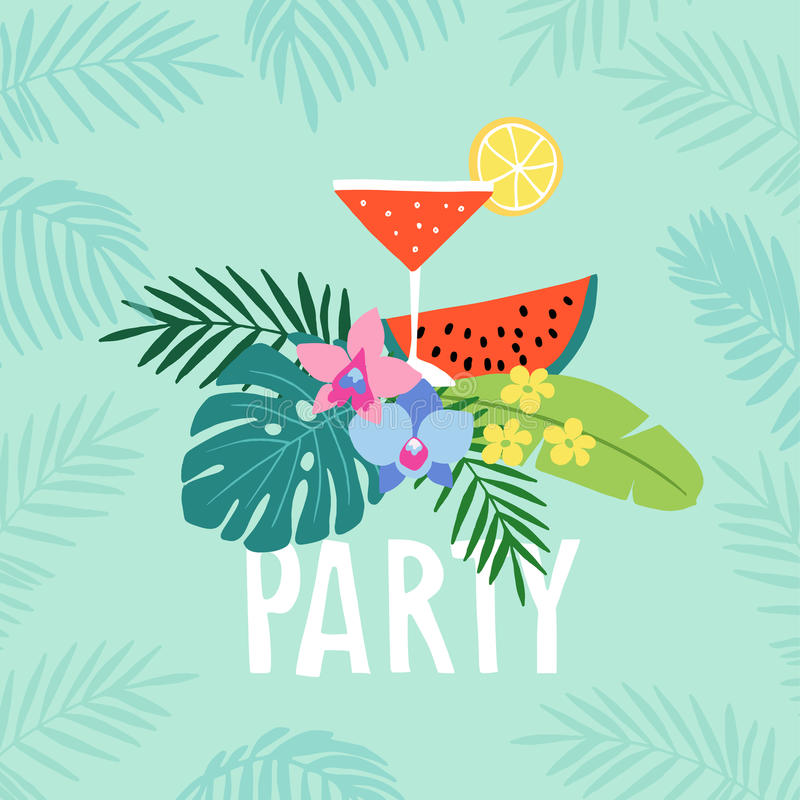Hand drawn summer party greeting card, invitation with cocktail drink. Watermelon fruit with tropical palm leaves and stock illustration
