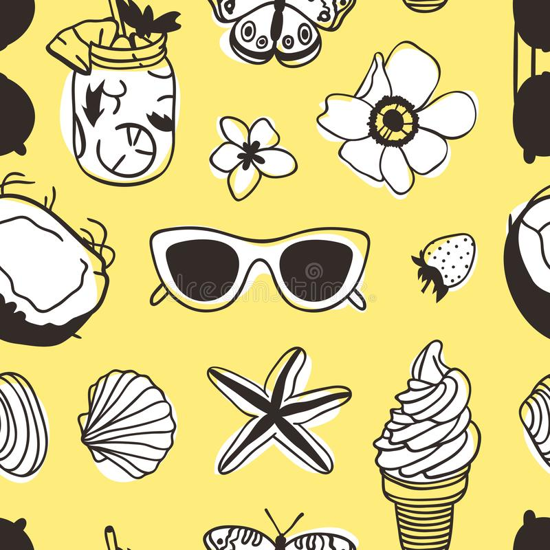 Hand drawn summer seamless pattern with coconut, sunglasses, ice cream, shell and other. Tropical vector background. Artistic royalty free illustration