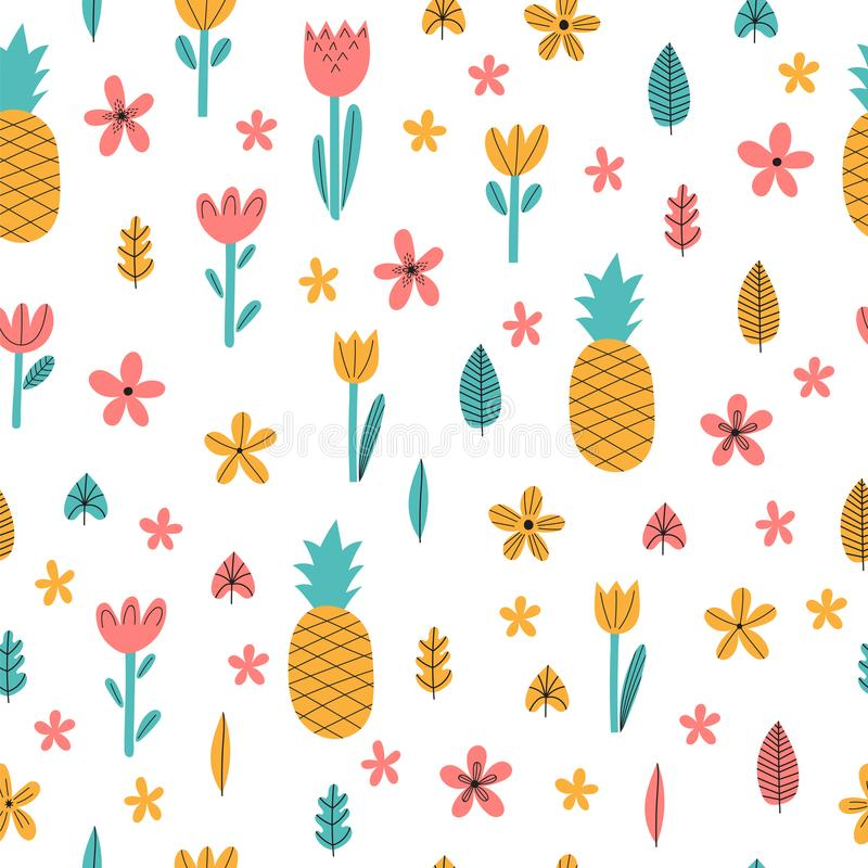 Hand drawn summer seamless pattern with flowers and pineapple. Cute tropical childish background. Stylish decorative elements stock illustration