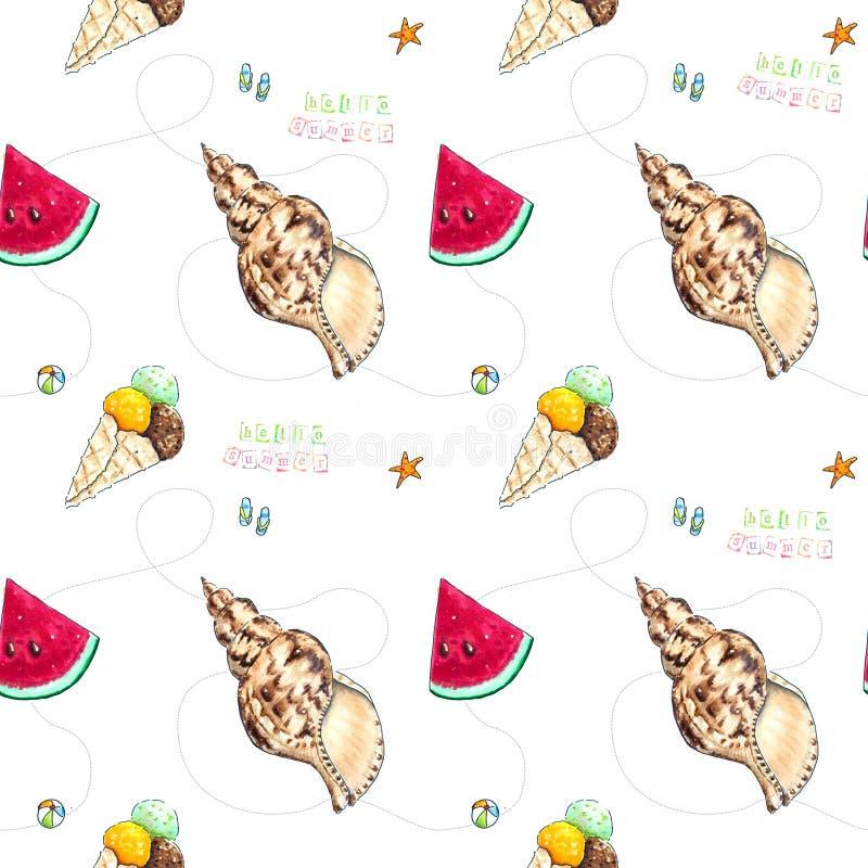 Hand drawn summer seamless pattern on white royalty free illustration