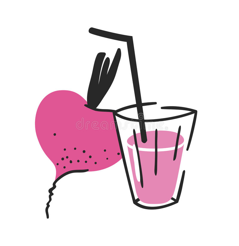 Hand drawn summer set of beetroot, juice and glass. Vector artistic illustration drinks and vegetable royalty free illustration