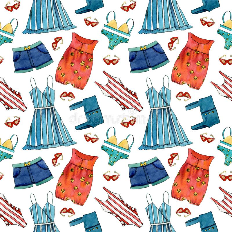 Hand drawn summer seamless pattern with dress, shorts, sun glasses, swimming suit stock illustration