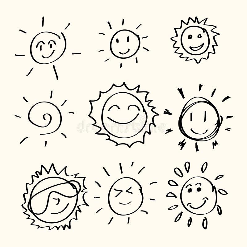 Hand drawn sun royalty free illustration