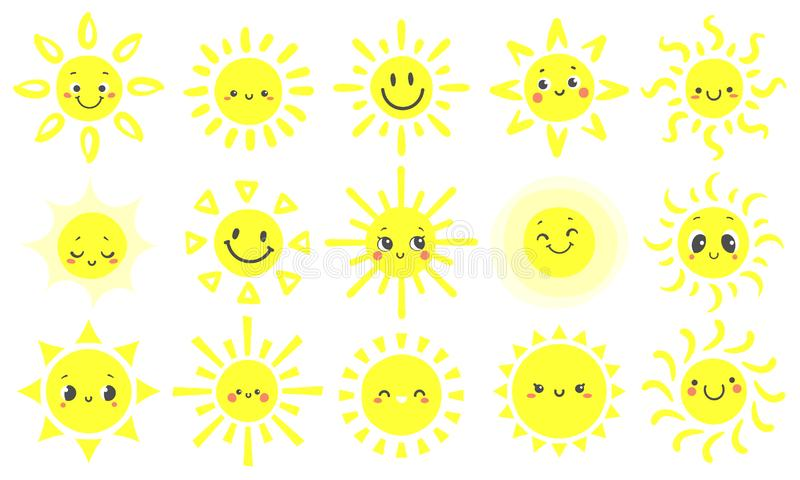 Hand drawn sun. Cute bright suns with funny smiling face, warm shining sunlight and happy day sun cartoon vector vector illustration