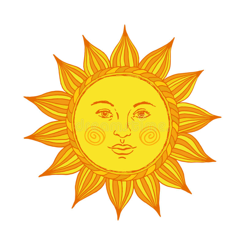 Hand drawn sun with face and eyes. Alchemy, medieval, occult, mystic symbol of sun. Vector illustration. stock illustration