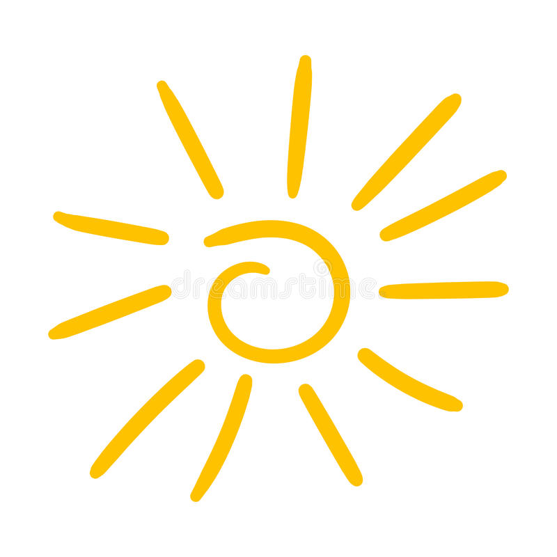 Hand drawn sun icon. Vector illustration isolated on white background. royalty free illustration