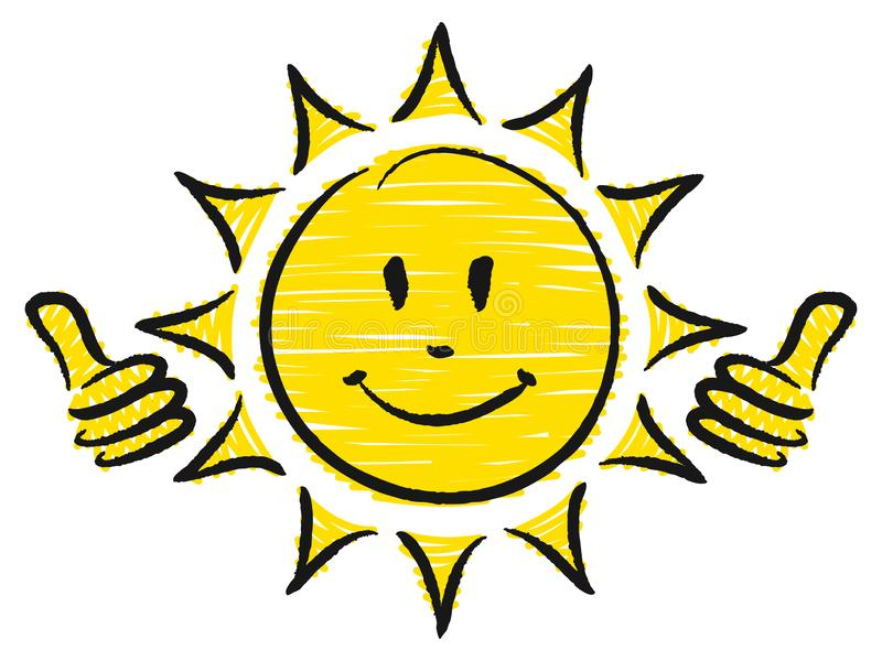 Hand Drawn Sun Two Thumbs Up Yellow And Black vector illustration